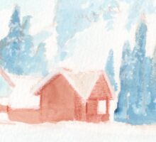 Winter cabin scene Sticker
