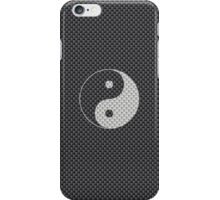 Chinese Yin and Yang Symbol in Black and White Kevlar Carbon Fiber Pattern iPhone Case/Skin