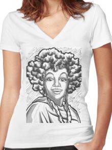 Portrait of Temecka Women's Fitted V-Neck T-Shirt