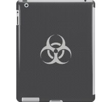 Black and WhiteToxic Symbol in Kevlar Carbon Fiber Pattern iPad Case/Skin