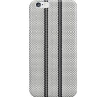 Double Black Racing Stripes on White Kevlar Carbon Fiber Pattern  iPhone Case/Skin