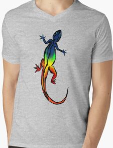 Colored Lizard Mens V-Neck T-Shirt