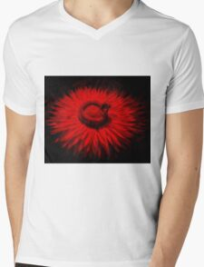 Bee On A Red Flower Mens V-Neck T-Shirt