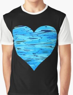 Blue Water Heart Graphic T-Shirt