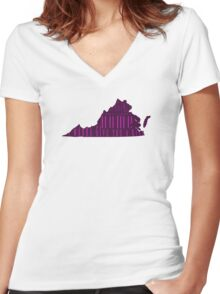 Virginia, My Home Sweet Home, I Wanna Give You A Kiss Women's Fitted V-Neck T-Shirt