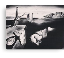 salvador dalì's 'the persistence of memory' in greyscale Canvas Print