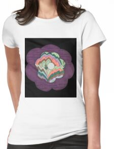 Deco Flower on Black Womens Fitted T-Shirt