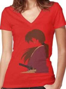 Samurai X - V2 Women's Fitted V-Neck T-Shirt