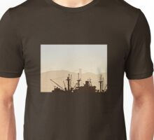 SS Jeremiah O' Brien War Ship Silhouette with Golden Gate Bridge Unisex T-Shirt