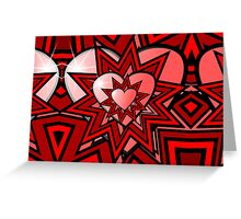 Pink Heart with Red Abstract Pattern Greeting Card