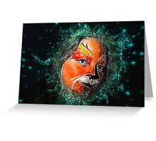 Digitally manipulated young teenage female model with elaborate tiger make up mask  Greeting Card