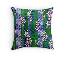 Jungle Blossom Jangle - deep blue Throw Pillow