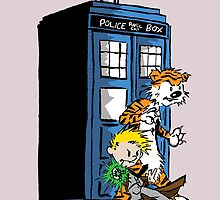 calvin and hobbes police box in action by goneficri