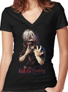 kaneki ken - Tokyo Ghoul 08 Women's Fitted V-Neck T-Shirt
