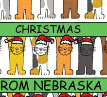Cats in Santa hats Happy Christmas from Nebraska. Sticker