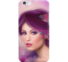 Fantasy woman with purple flowers iPhone Case/Skin