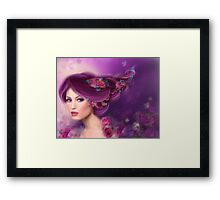 Fantasy woman with purple flowers Framed Print