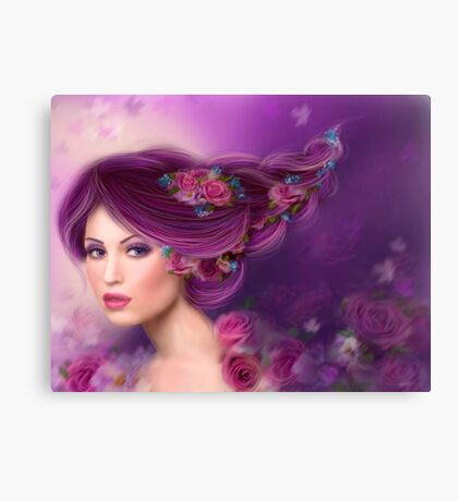Fantasy woman with purple flowers Canvas Print