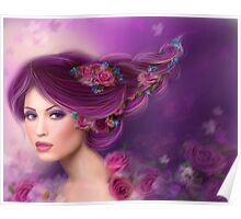 Fantasy woman with purple flowers Poster