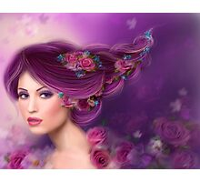 Fantasy woman with purple flowers Photographic Print