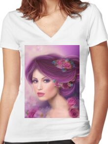 Fantasy woman with purple flowers Women's Fitted V-Neck T-Shirt