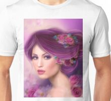 Fantasy woman with purple flowers Unisex T-Shirt
