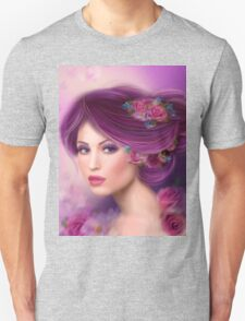 Fantasy woman with purple flowers T-Shirt