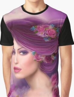 Fantasy woman with purple flowers Graphic T-Shirt