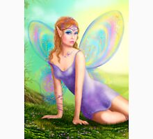 Fantasy fairy butterfly sits on grass in wood. Unisex T-Shirt