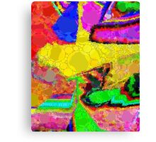 Florescent Yellow Green Blue Abstract  Canvas Print