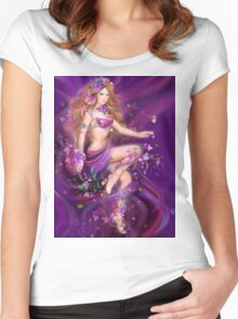 Fantasy Woman and purple flowers Women's Fitted Scoop T-Shirt