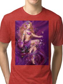 Fantasy Woman and purple flowers Tri-blend T-Shirt