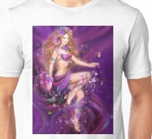 Fantasy Woman and purple flowers Unisex T-Shirt