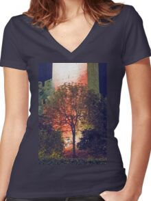 walls of castle at night Women's Fitted V-Neck T-Shirt