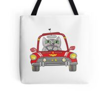 Cat on the car Tote Bag