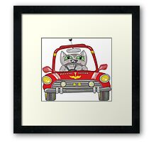 Cat on the car Framed Print