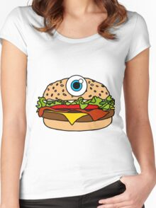 Cyclops Burger Pattern Pink Women's Fitted Scoop T-Shirt