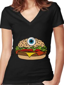 Cyclops Burger Pattern Pink Women's Fitted V-Neck T-Shirt