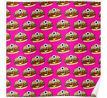 Cyclops Burger Pattern Pink Poster