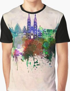 Wroclaw skyline in watercolor background Graphic T-Shirt