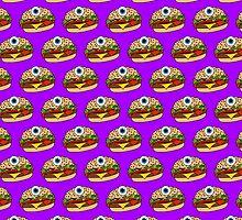 Cyclops Burger Pattern Purple  by Lucy Lier