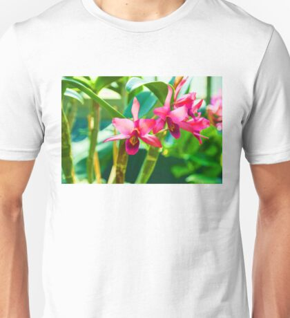 Tropical Impressions - Vibrant Pink Orchids Unisex T-Shirt