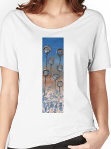 Abstract In Wheat, Blue and Chamoisee  Women's Relaxed Fit T-Shirt