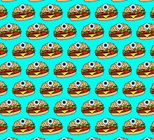 Cyclops Burger Pattern Blue by Lucy Lier