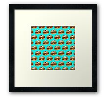 Cyclops Burger Pattern Blue Framed Print
