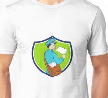 Mailman Deliver Letter Crest Cartoon Unisex T-Shirt