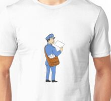 Mailman Deliver Letter Isolated Cartoon Unisex T-Shirt