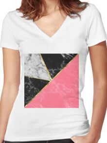 Marble color collection geometric abstract design Women's Fitted V-Neck T-Shirt