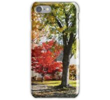 Autumn Street With Red Tree iPhone Case/Skin