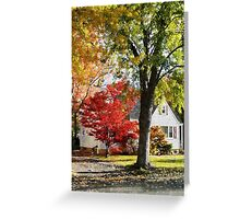 Autumn Street With Red Tree Greeting Card